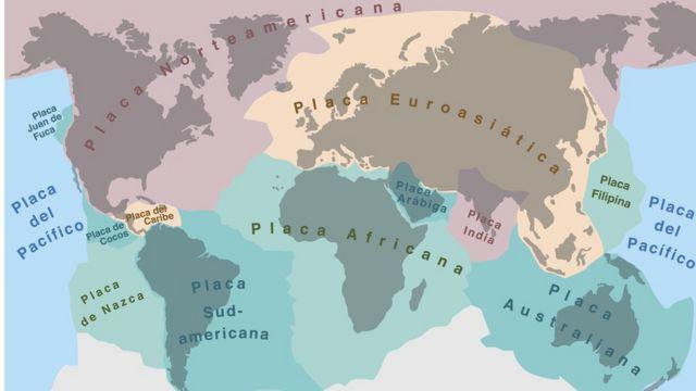 Mapa de placas tectónicas.