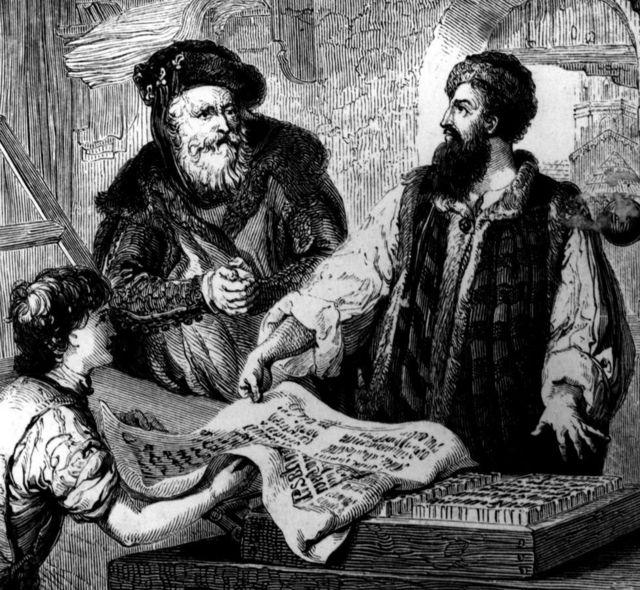 гравюра с Гутенбергом и его изобретением