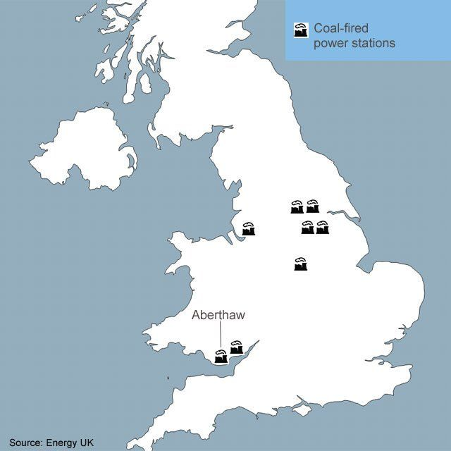 Map of coal-fired power stations