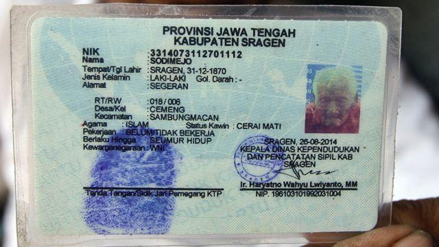 Documento de identidad de Mbah Ghoto