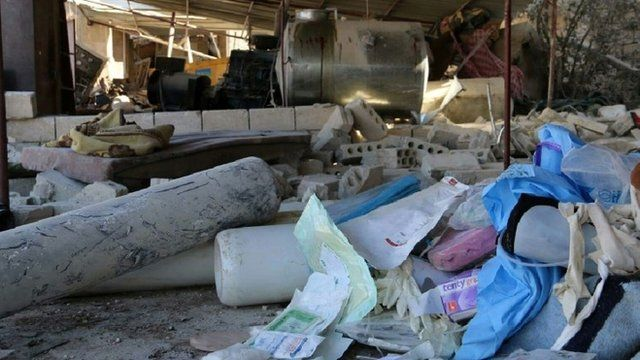Debris inside a hospital supported by MSF in Syria