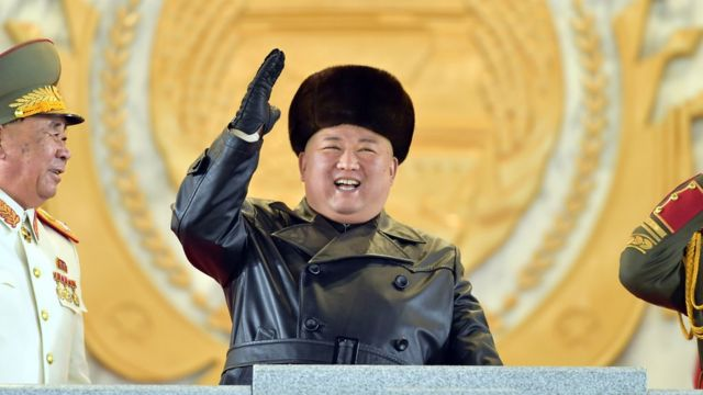 Kim Jong-un seen at the military parade