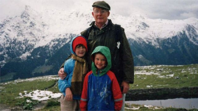 Reg Green com Eleanor e Nicholas nos alpes italianos