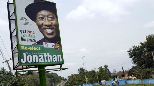 Campaign billboard of Goodluck Jonathan before di 2015 general election for Nigeria