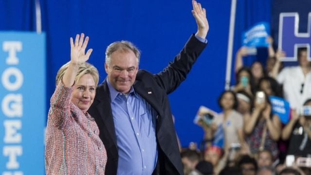 US Democratic Presidential candidate Hillary Clinton and US Senator Tim Kaine