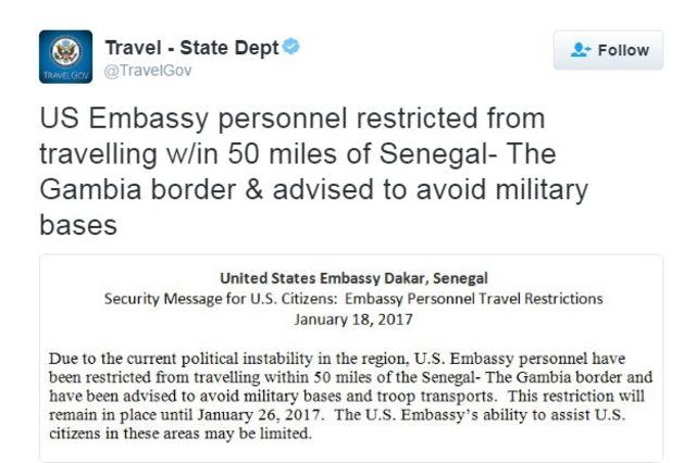 Ubutumwa bwa Amerika ku benegihugu bari muri Senegal