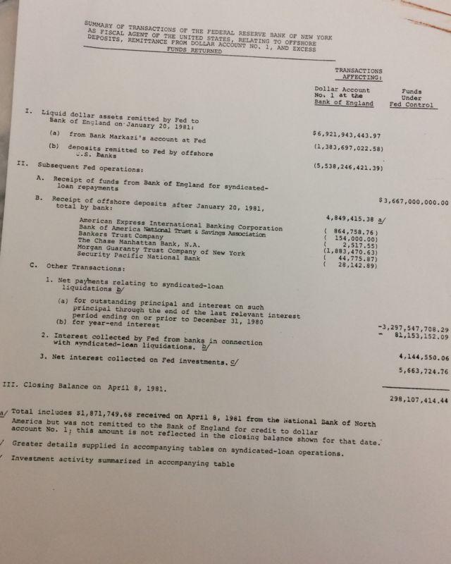 سند وزارت دارایی آمریکا که در سال ۲۰۱۴ میلادی از حالت طبقه بندی خارج شده نشان می دهد که بعد از تسویه وامهای سندیکایی حدود ۳۰۰ میلیون دلار پول ایران اضافه آمده است