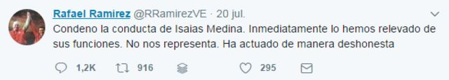 Tuit del embajador de Venezuela ante la ONU, Rafael Ramírez.
