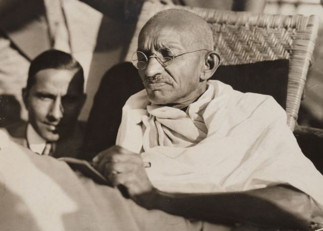 Mahatma Gandhi pictured on board the SS 'Rajputana' in 1931