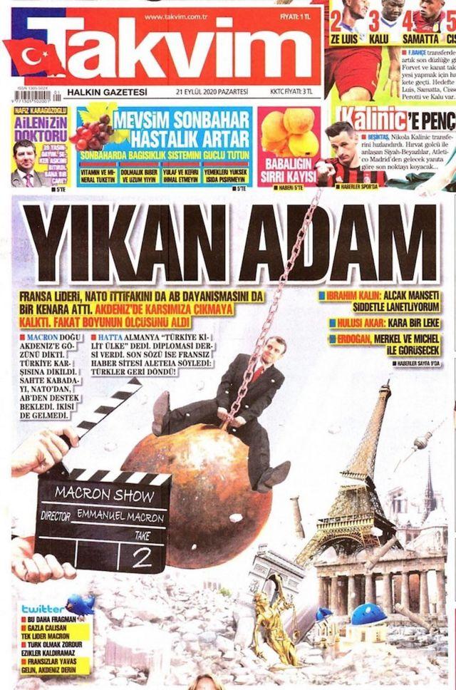 روزنامههای هوادار دولت در ترکیه به شدت از مکرون انتقاد کردهاند