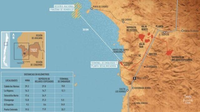 Mapa que marca la distancia entre Dominga y el archipiélago.