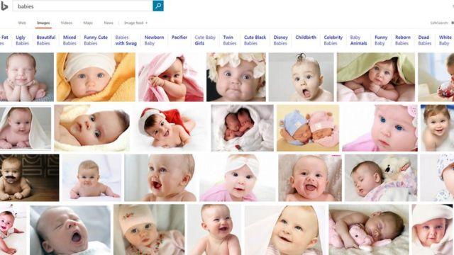 """Результаты запроса на слово """"младенцы"""" в поисковике Bing"""