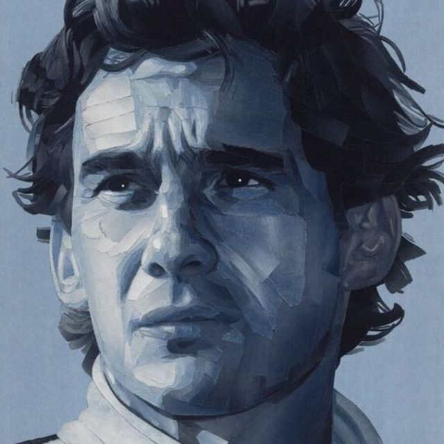 پرتره آیرتون سنا، قهرمان درگذشته مسابقات فرمول یک که ساخته شده با پارچههای جین