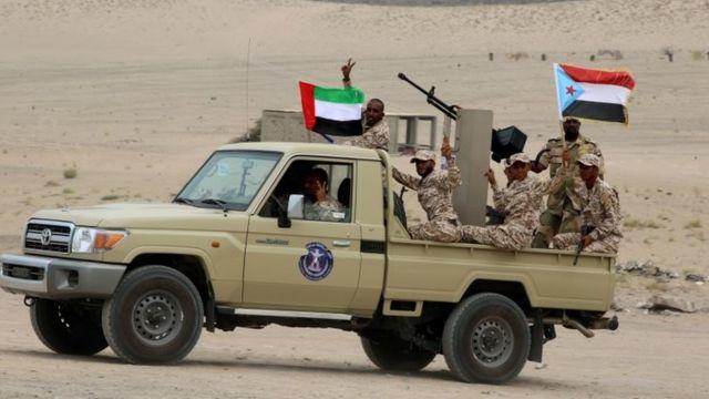 گروهی از نیروهایی جدایی طلب جنوب یمن که توسط ارتش امارات متحده عربی آموزش دیده و تجهیز شدهاند