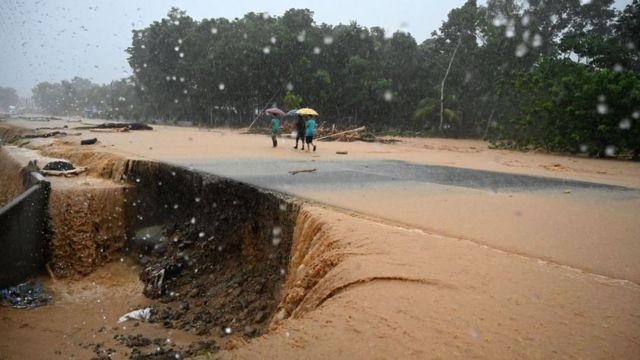 Carretera inundada en Honduras