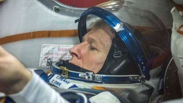 Tim Peake trying on a Sokol spacesuit in Dec 2015