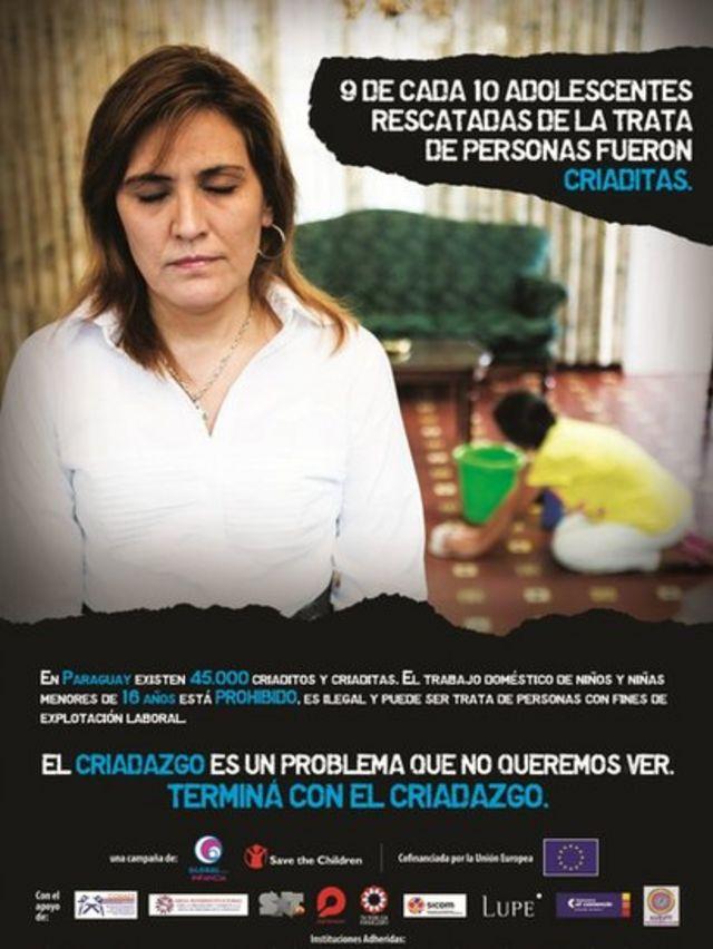 Afiche de una campaña de Global Infancia contra el criadazgo.