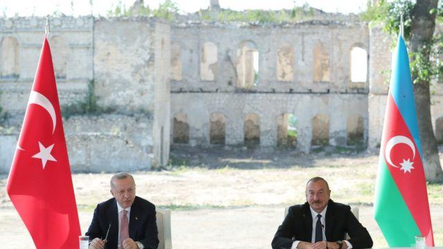 Реджеп Тайип Эрдоган и Ильхам Алиев в Шуше 15 июня 2021 года