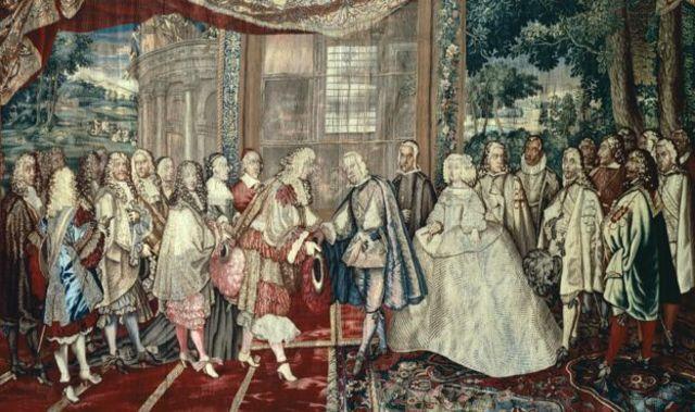 พระเจ้าหลุยส์ที่ 14 แห่งฝรั่งเศส และกษัตริย์ฟิลิปที่ 4 แห่งสเปน ร่วมลงพระนามในสนธิสัญญาสำคัญบนเกาะฟีซองส์ เมื่อปี 1659