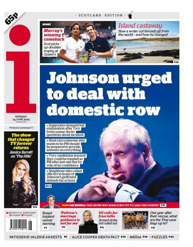 Scotland's papers: Boris row dominates coverage of Tory leadership