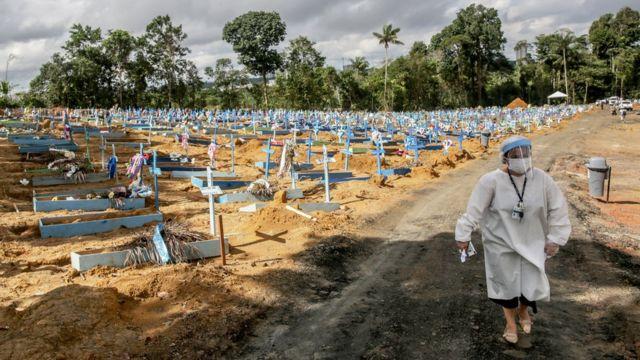 Cementerio para víctimas confirmadas y sospechosas de covid-19 en Manaos, Brasil.