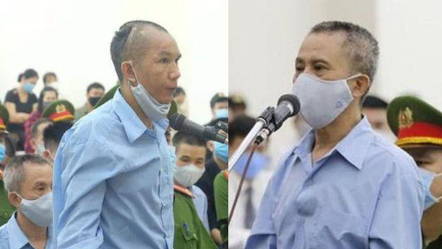 Ông Lê Đình Chức (trái) và Lê Đình Công (con trai ông Lê Đình Kình), bị tuyên tử hình trong phiên tòa sơ thẩm ngày 14/9/2020