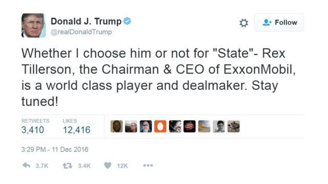 """Un tuit de Donald Trump dice: """"Así lo escoja o no para 'Estado' - Rex Tillerson, el director ejecutivo de ExxonMobil es un negociador de talla mundial. Sigan en sintonía!"""""""