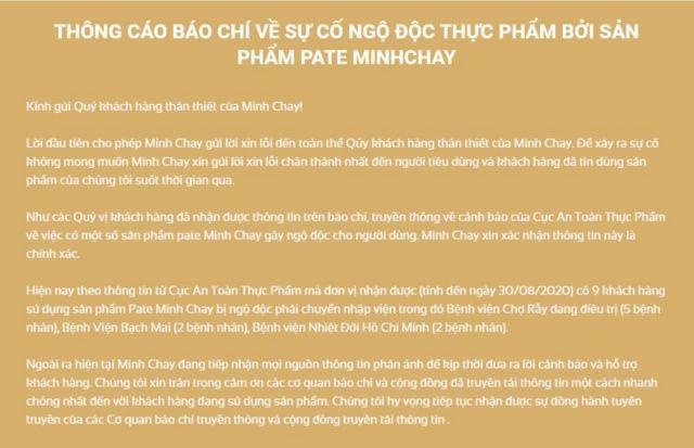 Trang web Minhchay.com đưa ra thông báo về vụ ngộ độc.