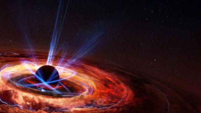 Representação da formação de um buraco negro