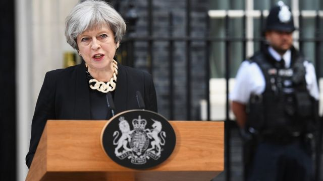 Theresa May speaks in Downing Street