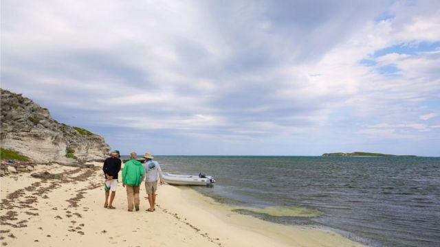 Участники экспедиции на берегу гавани Хокс-Нест на острове Гранд-Терк