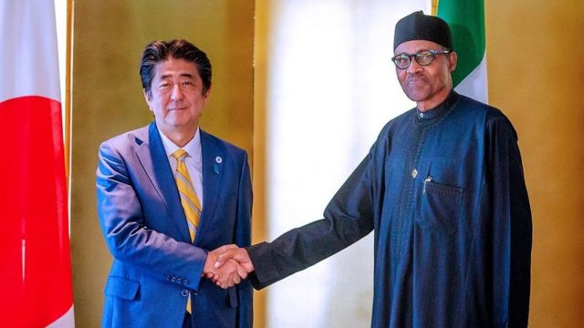 Muhammadu Buhari pẹlu Aarẹ Japan