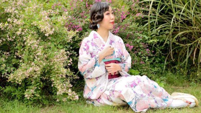 Photo of a woman in a Kimono