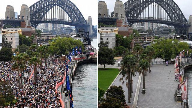 El Circular Quay en Sídney en la víspera de Año Nuevo en 2019 y en 2020.