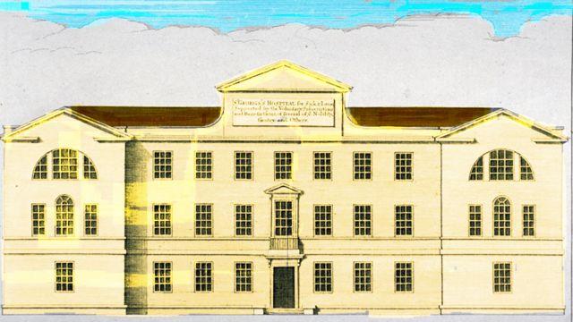 Gravura mostra o hospital St. George, em Londres