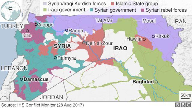 Wannan taswirar ta na nuna yadda Is ta karbe iko da wasu yankunan kasar Syria da Iraqi. An kuma dauki hoton ne a ranar 2 ga watan Satumba 2017