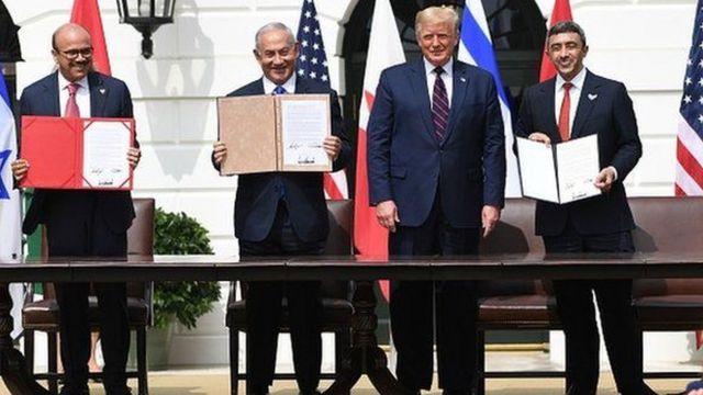 وزیران خارجه بحرین و امارات و نخست وزیر اسرائیل با ترامپ