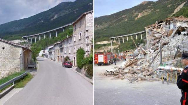 Пескара-дель-Тронто до и после землетрясения