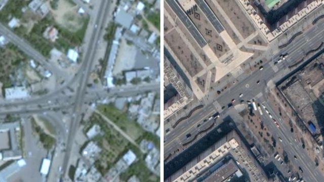 Solda Google Earth'teki Gazze fotoğrafı, sağda ise Kuzey Kore'nin başkenti Pyongyang'ınki