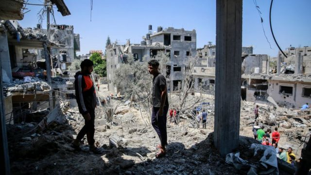The site of destroyed houses in the northern Gaza strip