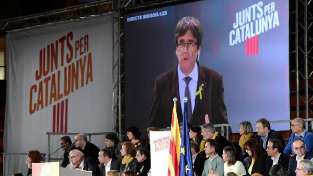 Pantalla con Puigdemont