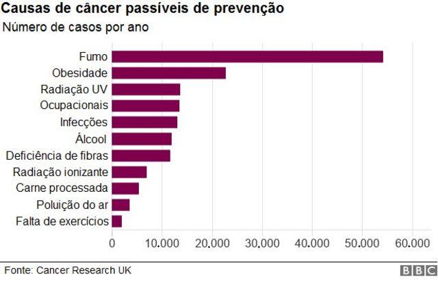 Gráfico sobre casos de câncer e causas passíveis de prevenção