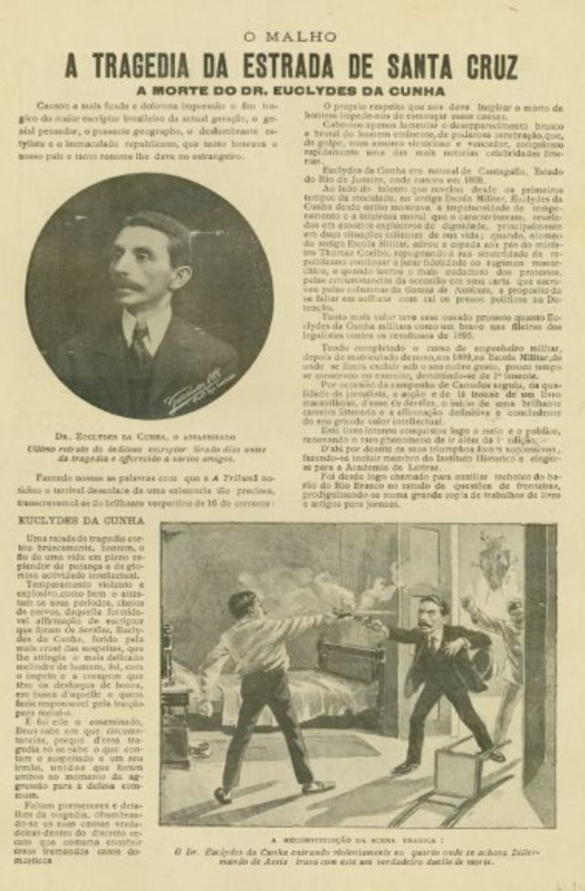 """revista """"O Malho"""" de 1909 com a cobertura da morte de Euclides"""