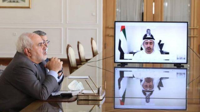 گفتگوی ویدئویی جواد ظریف وزیر خارجه ایران با شیخ عبدالله بن زاید آل نهیان وزیر خارجه امارات