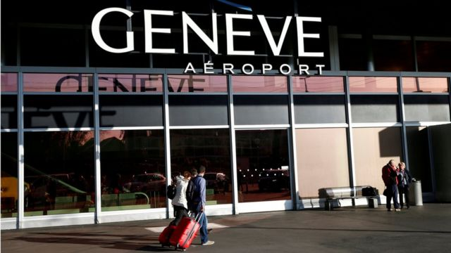Passengers arrive at the departure building at Cointrin airport in Geneva, Switzerland, April 12, 2016.