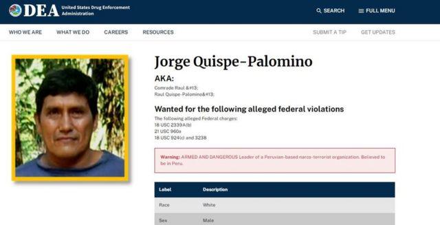 Captura de pantalla del perfil de Jorge Quispe-Palomino de la DEA.