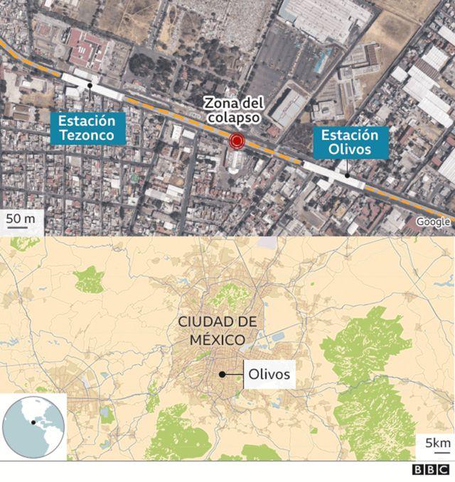 Mapa del lugar del colapso.