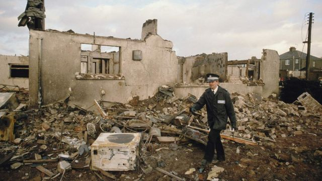 Casa destruida en Lockerbie.