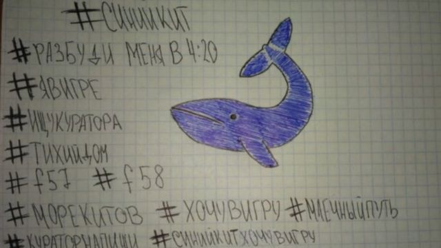 "Drawing and notes of ""Blue Whale"", with Russian writing"