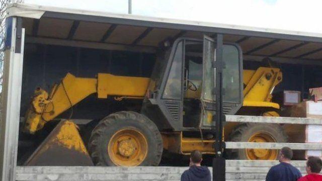 Tractor hidden in lorry